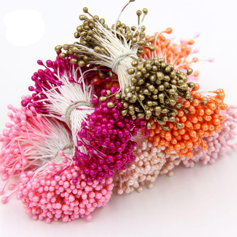 Großhandels-1 Bundle = 90PCS künstliche Blume Double Heads Staubblatt Pearlized Craft Karten Kuchen Decor Floral für home Hochzeit Party Dekor