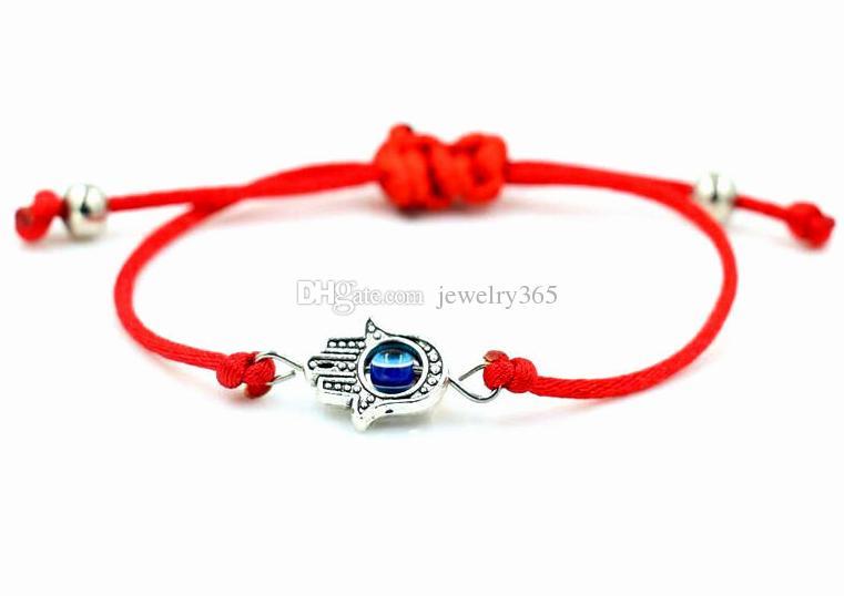 10 teile / los Hamsa Hand String Evil Eye Glückliche Rote Schnur Einstellbar Armband Geschenk