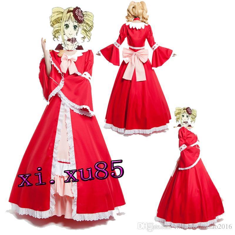 Hotcos الأسود بتلر اليزابيث تأثيري حلي كلايد الأحمر لوليتا اللباس مخصص الحجم جميلة اللباس جودة عالية