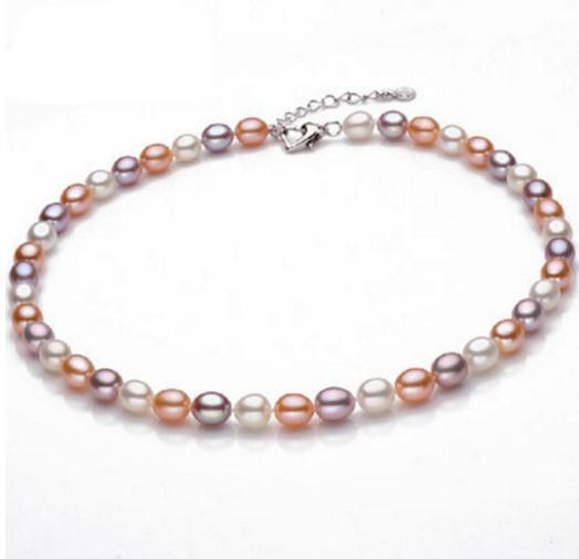 7-8mm Forme De Riz Blanc Rose Pourpre Couleur Mixte Naturelle Perle Collier 18 pouces pour les Femmes Argent 925