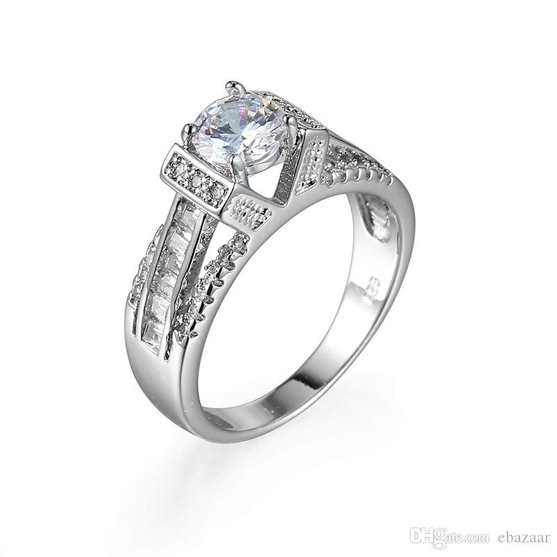 Solitaire Jewelry 18K Gold Plated White Topaz Gemstones Wedding Ring Sz6-10 Gift