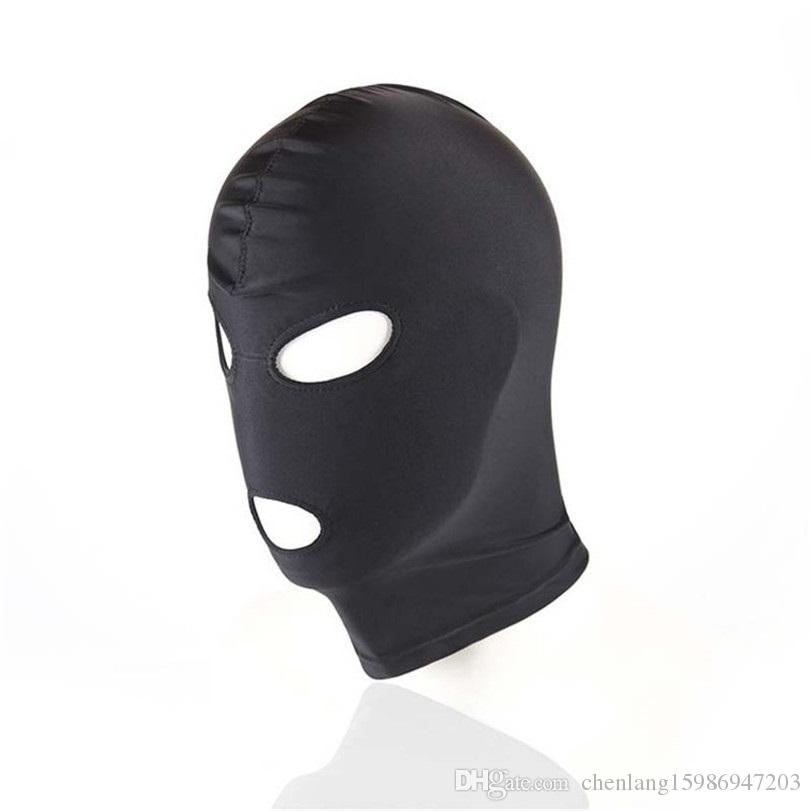 BDSM Boldage Черная маска для фетиш игрушка пара SM женщин секс мужчин взрослый рот капюшон глаз под рабарькой GDFTX