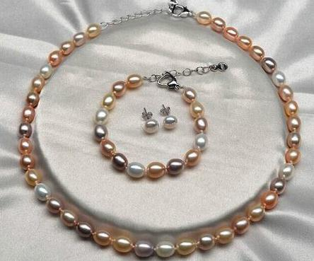 Großhandel 12-13mm Südsee Weiß Rosa Lila Multicolor Pealr Halskette S925 Silber Verschluss Freies Armband Ohrringe