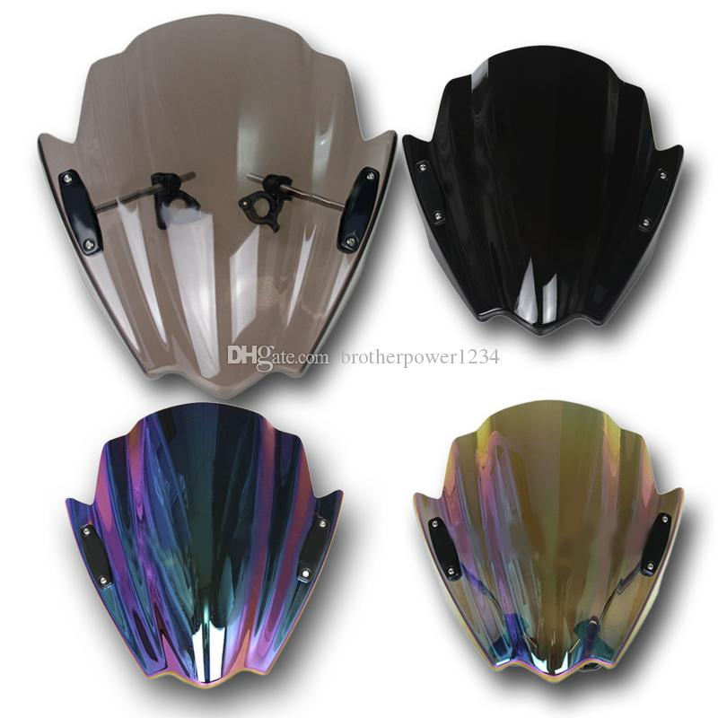 Motorcycle Clear Windshield windscreen Universal 7//8/'/' Or 1/'/' For Harley Honda