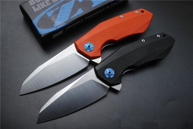 Ücretsiz nakliye, yüksek kaliteli ZT0456 katlama bıçak, bıçak: D2 (Leke), Kolu: Siyah / OrangeG10, açık kamp avı el aletleri, toptan, hediyeler
