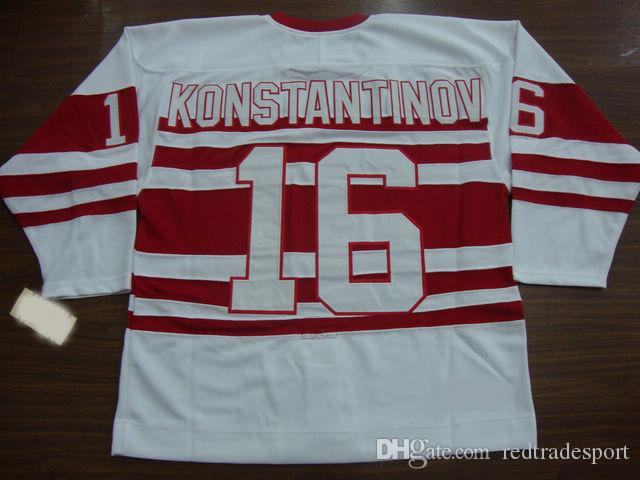 ... 2017 Mens Throwback Detroit Red Wings 16 Vladimir Konstantinov Jersey  Vintage Classic 75th Anniversary Stitched Hockey ... 298f6966e
