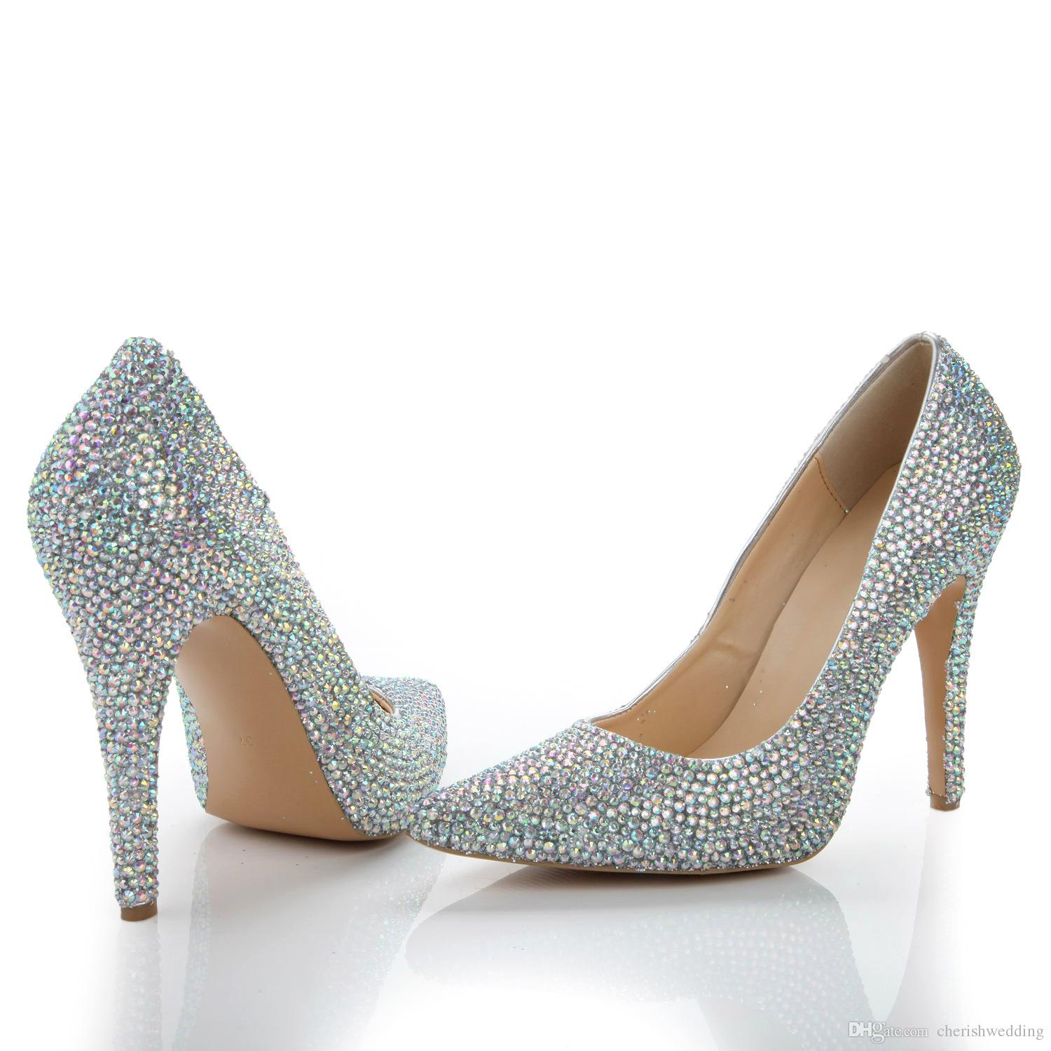 2017 New Wedding Shoes Silver 8CM Heel Sparkly Rhinestone Shoes Crystal  Cheap Price High Quality Bridal Shoe In Stock Wedding Wedges Blue Wedding  Shoes From ... 2c088d3977