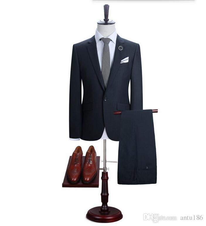 Yüksek kalite erkekler takım elbise moda damat düğün takımları bir düğme sağdıç takım elbise rahat takım elbise balo takımları (ceket + pantolon)