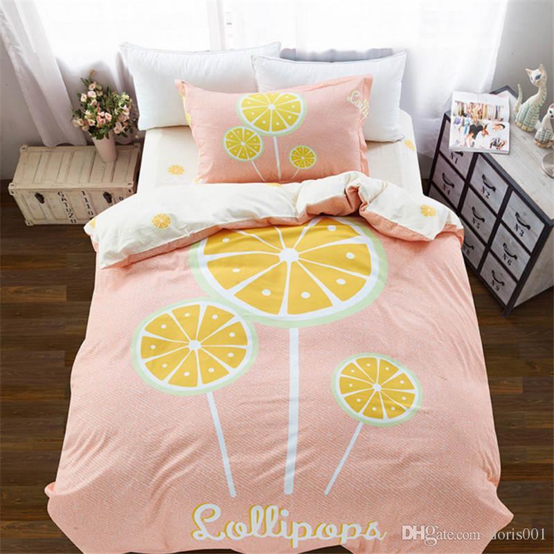 도매 - 면화 어린이 만화 침구 세트 3pcs bedsheet / duvet 커버 / pillowcase 홈 섬유 트윈 사이즈 무료 배송