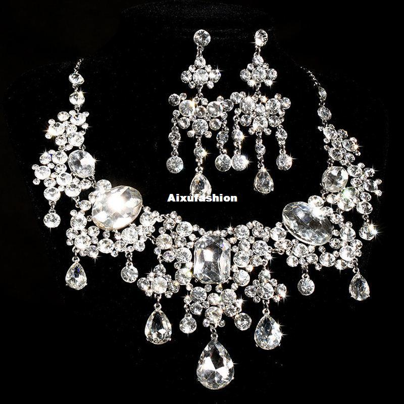 Gorgeous Design Dazzling Disperse Stone Drop Pear Shape Clear Color Cubic Rhinestone Crystal Bridal Jewelry Set for Party Gifts