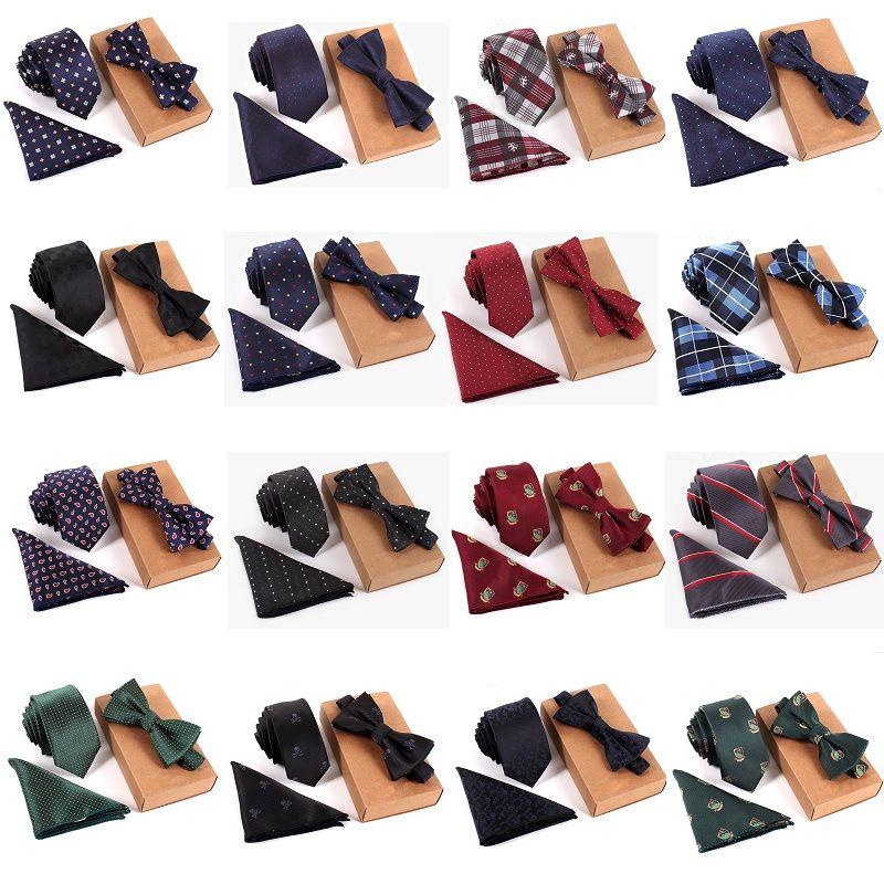 Neue Ankunfts-Art- und Weisefrauen der Männer dünnes gesticktes Plain Satin-Polyester-Seidenkrawatte-Krawatten-Hals-Krawatten-Fliegen-Hanky-Klage freies Verschiffen