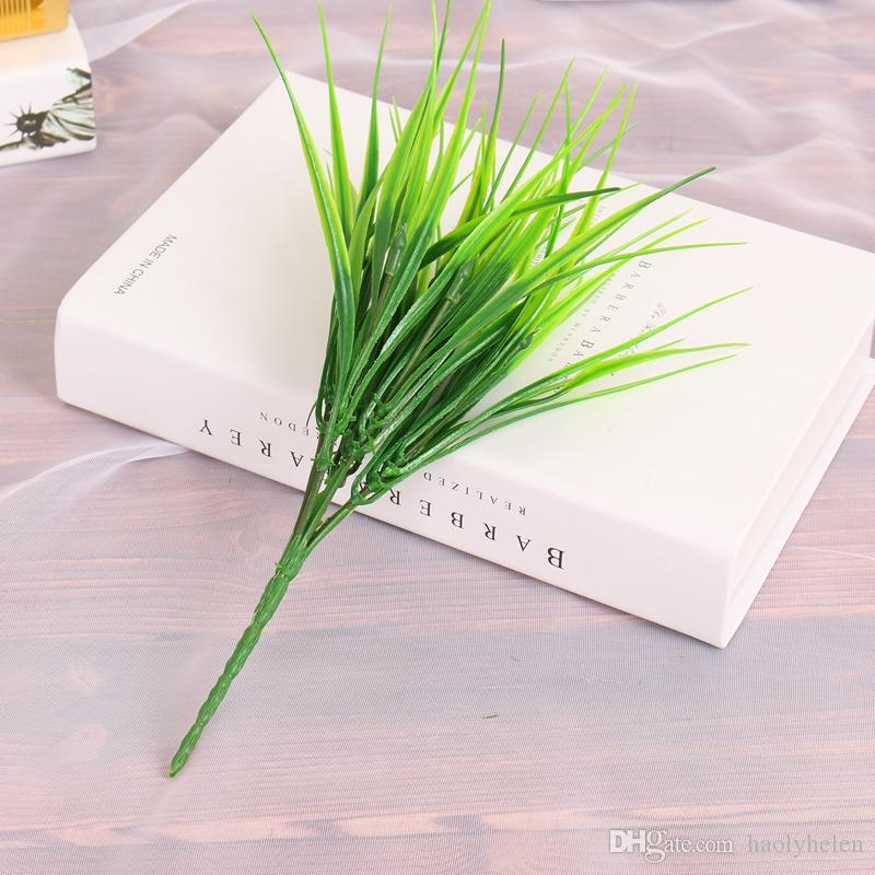 Wholesale 100 Pieces Artificial Grass Bush Green Artificial Flowers & Plants Small Grass Bush Home Office Store Decor Free Ship