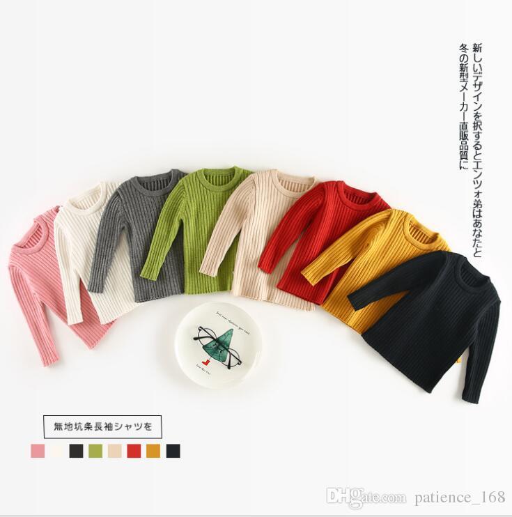 8 Couleurs NEW ARRIVÉE BOYS FILLE À manches longues Automne Vis de couleur Solide Filetage T-shirt All-Match T-shirt Shirt Livraison gratuite