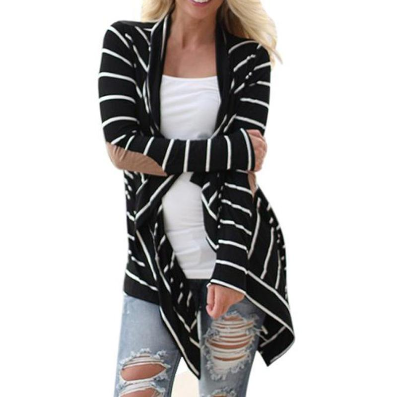 Wholesale-Fashion New Women Cardigans Black White Striped Elbow Patching Long Knitted Cardigan 2016 Autumn Winter Women Slim Sweater Coat