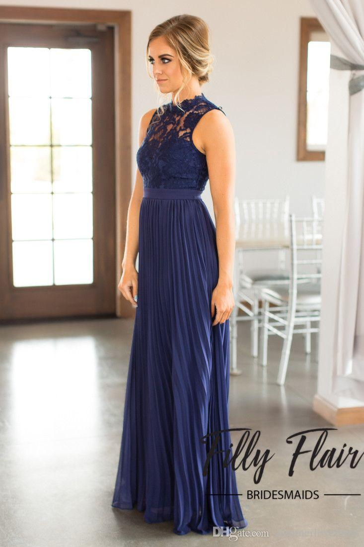 Cheap 2017 new elegant navy blue high neck pleated chiffon long 2017 new elegant navy blue high neck pleated chiffon long bridesmaid dresses lace top hollow sash ombrellifo Images