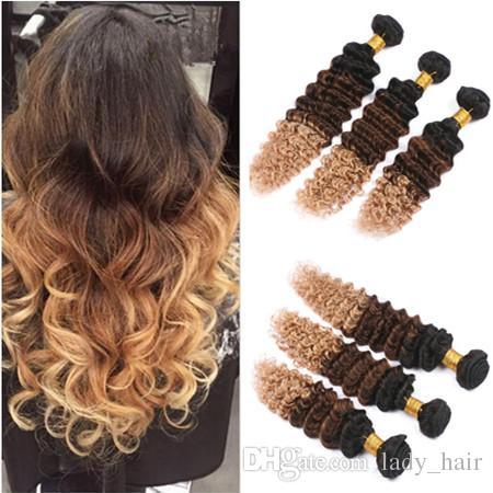Derin Dalga Üç Ton Renkli Insan Saç Demetleri 3 Adet Lot Bakire Perivuan 1B / 4/27 Bal Sarışın Ombre İnsan Saç Uzantıları Uzantıları