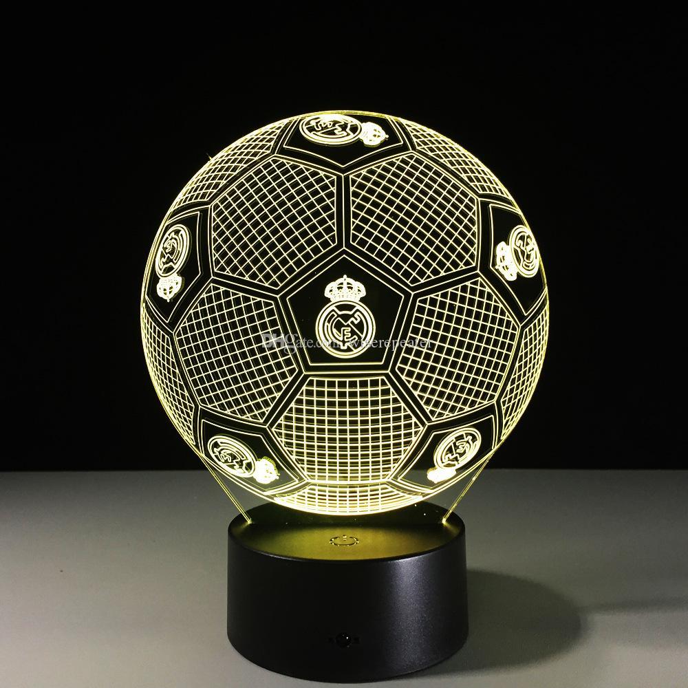 Madrid Football Style 3D Optical Illusion Lamp Night Light 7 RGB Lights DC 5V USB Charging 5th Battery Dropshipping Free Shipping