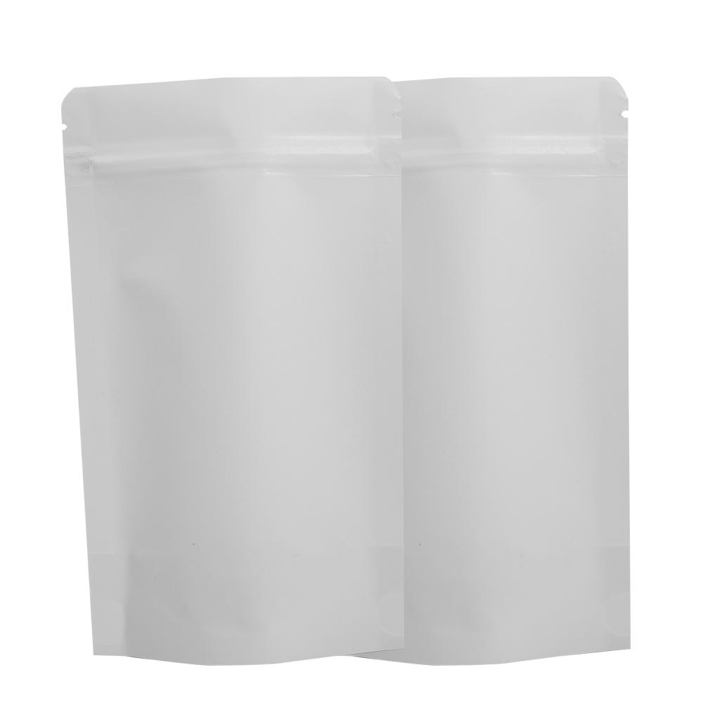 "Alta calidad 12x20cm (4.75x7.75 "") 100PCS lágrima muesca Kraft papel sellado térmico Stand Up almacenamiento de alimentos bolsa blanca Kraft Zip Lock"