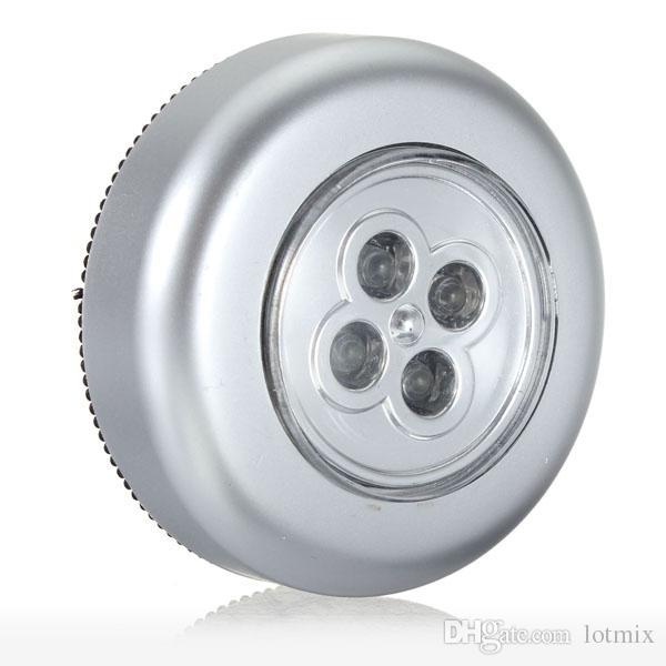 실버 / 블루 바퀴 모양의 미니 4 LED 야간 조명 램프 배터리 전원 Blub 무선 밝은 벽 무선 터치 스틱 램프