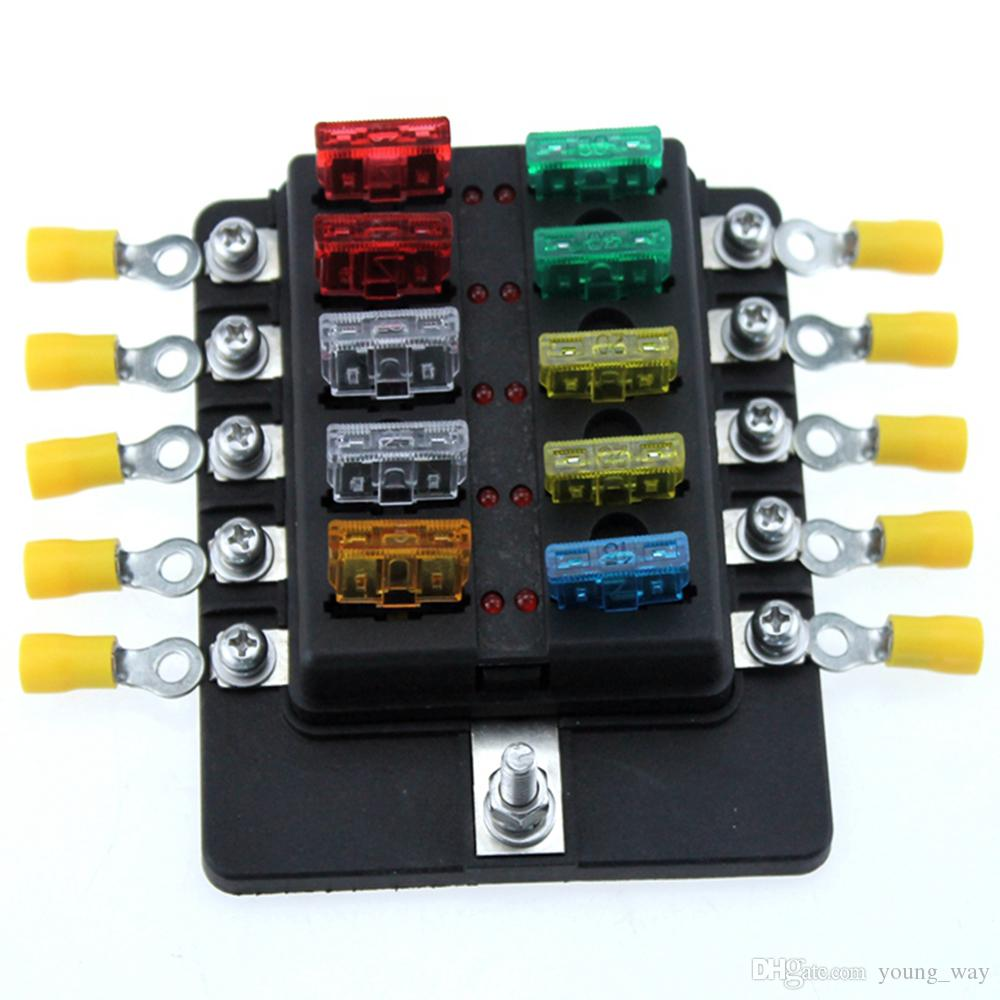 Ambuker 10 Way Car Blade Fuse Box Truck Marine Boat RV LED Indicator Fuse  Block With Fuse Spade Terminals And Wiring Kits Used Auto Car Parts Used  Auto Part From Young_way, $15.18|DHgate.com