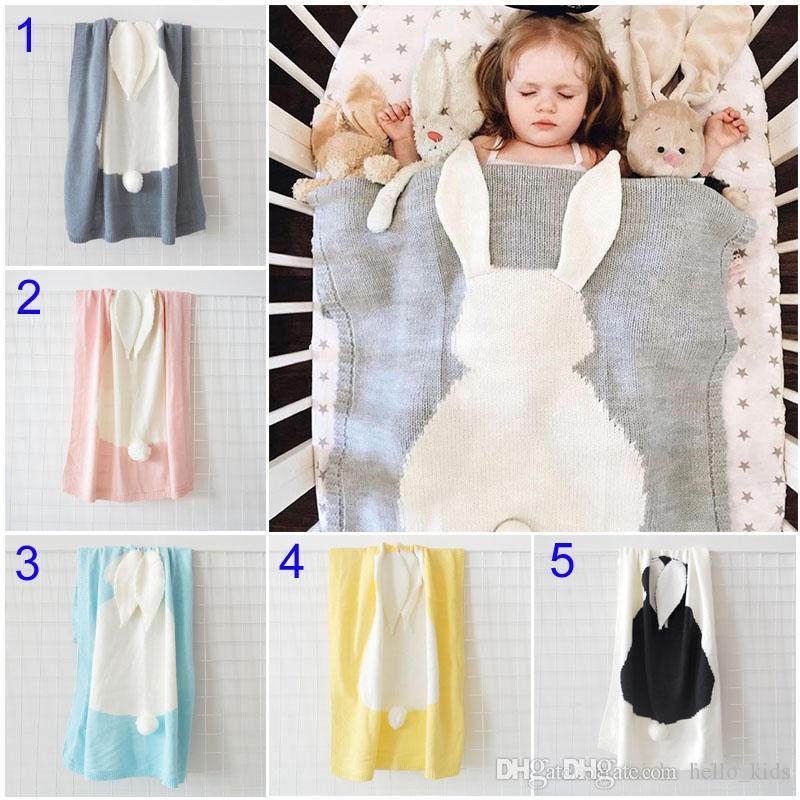 5 Color New INS Baby Girls Boys Cute rabbit Knitted Blankets Sleeping Swaddling Sleeping Bags Children Blanket kids Bunny Swaddling