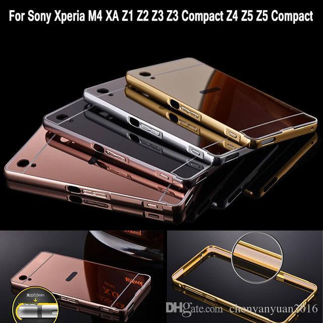 Caso espelho para sony z3 quadro de pára-choques de alumínio para sony xperia z3 compacto Z5 Z5 Compact XA M4 Aqua Acrílico Tampa Traseira