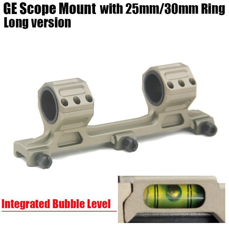 GE охота прицел крепление 25 мм / 30 мм кольца AR15 M4 M16 с интегрированным пузырьковый уровень Fit Ткач Picatinny Rail длинная версия темная земля