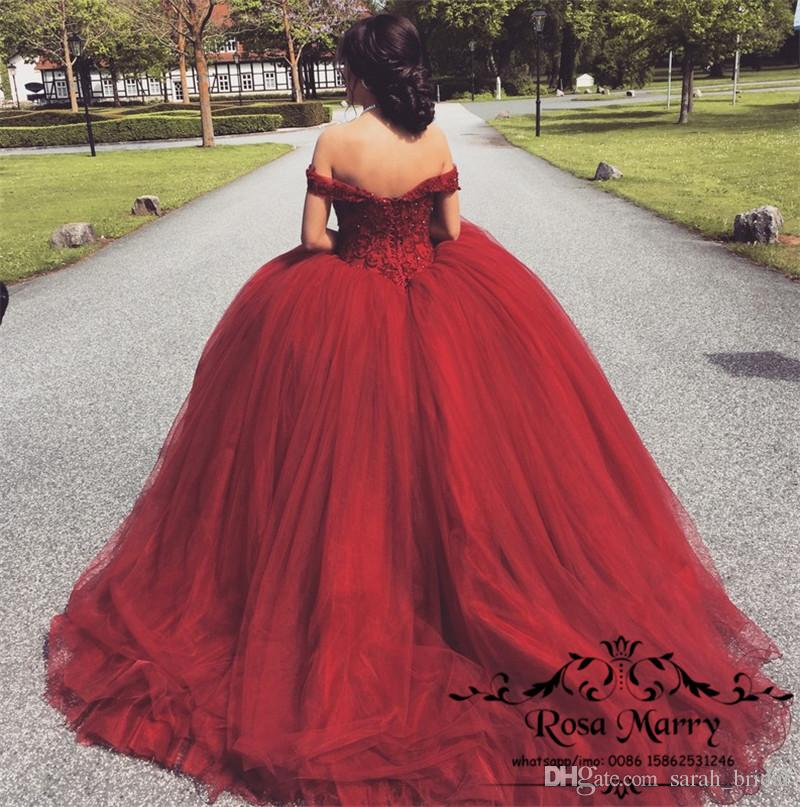 Arabic Ball Gown Off Shoulder Red Prom Dresses 2020 Beaded Plus Size Puffy  Tulle Cheap Quinceanera Evening Party Gowns Plus Size Gowns Prom Dresses ...