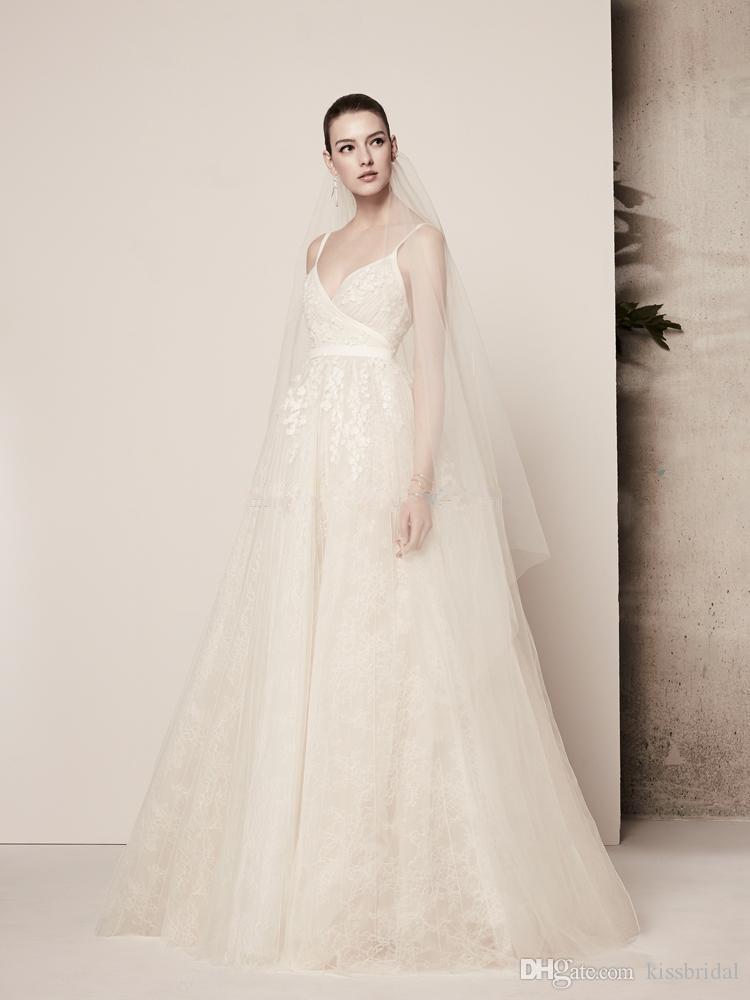 rendas praia do verão apliques vestidos de noiva Elie Saab vestidos de noiva cintas de espaguete varrer trem tule casamento formal vestido de recepção