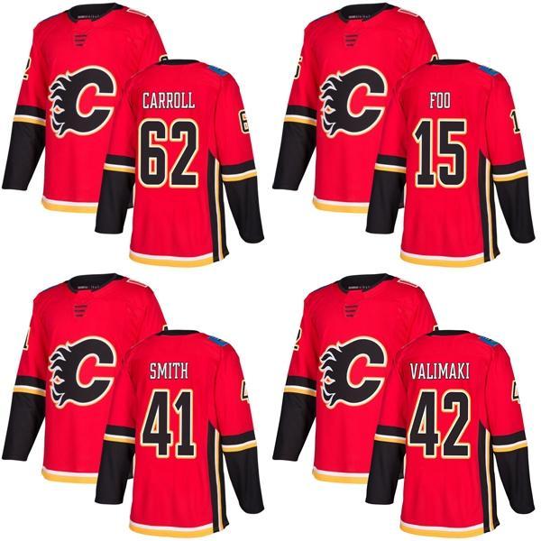 2017 Nowy Marka Męskie Calgary Flames 15 Spencer Foo 41 Mike Smith 42 Juuso Valimaki 62 Austin Carroll Red Ice Hockey Koszulki Akceptuj Custom