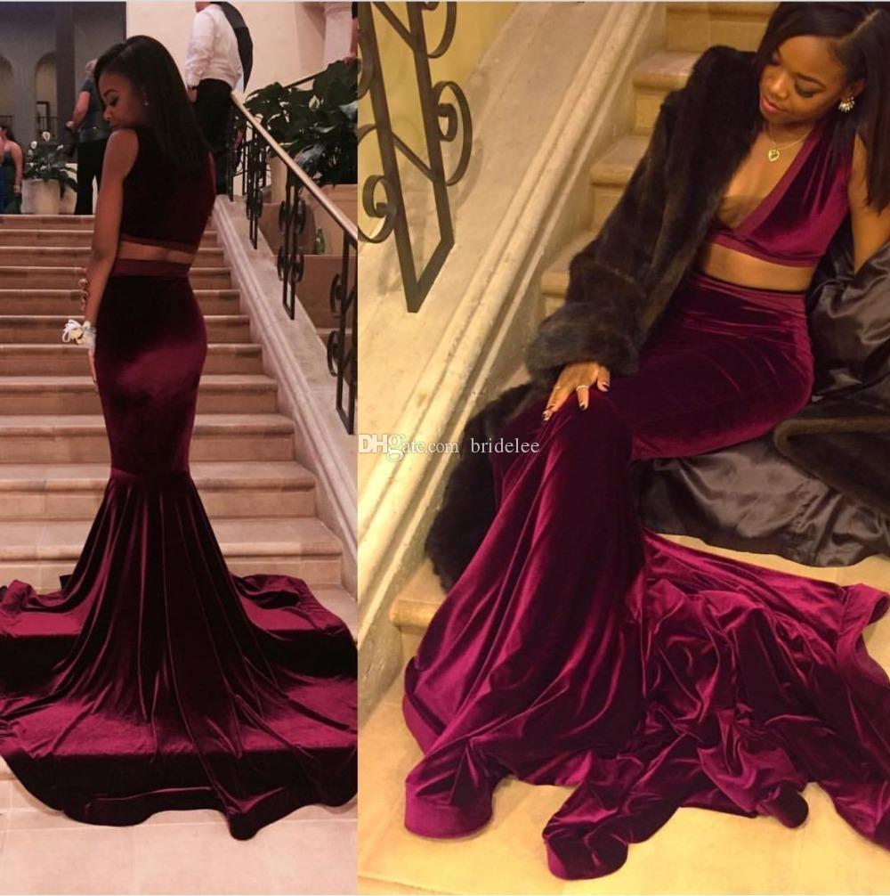 Sexy V Cou Velours Bordeaux Deux Pièces Robe De Bal 2020 Filles Africaines Cour Africaine Train Longue Sirène Robes De Bal Parti Robe