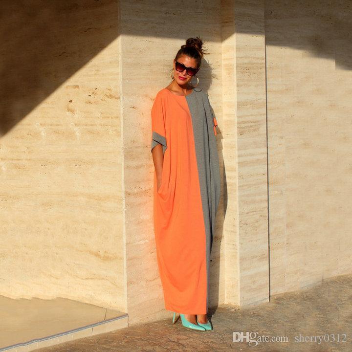 2017 Nouveau Été Femmes Lâche Longues Robes D'été Robes Casual Couleur Bloc Poche Col Rond À Manches Courtes Maj Maxi Dress Vintage En Mousseline de Soie