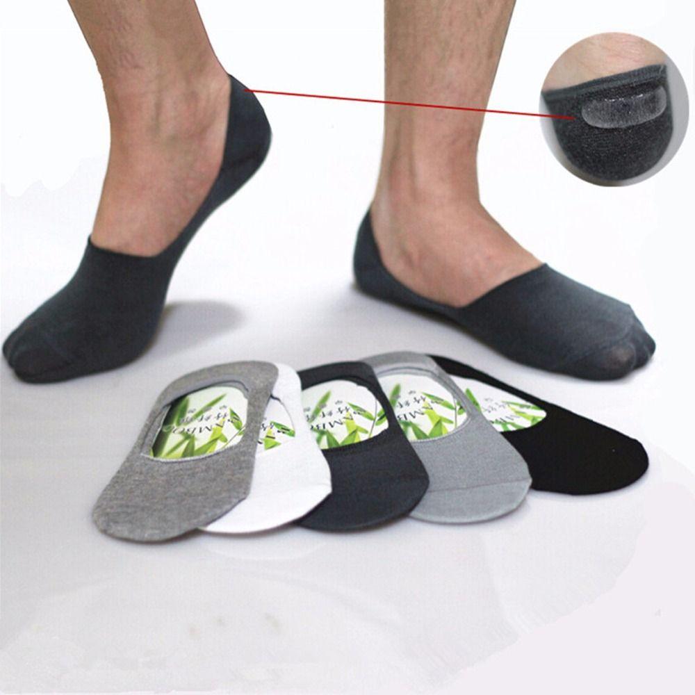 Atacado- Mens Meias Chinelos de fibra de bambu antiderrapante Silicone Invisível Barco Meias Men / Women tornozelo meias 10pcs = 5 pares / lote