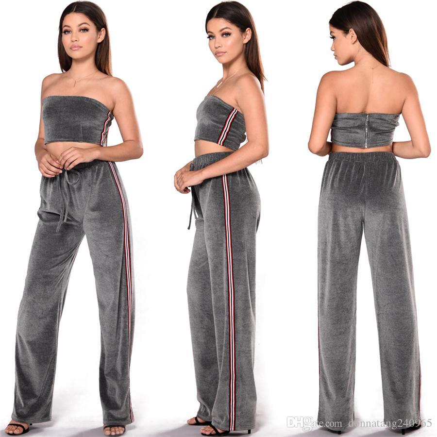 2017 Summer 2 piece Set Women wide leg pants set off the shoulder Crop Top+Wide Leg Pants women 2 pieces clothing set