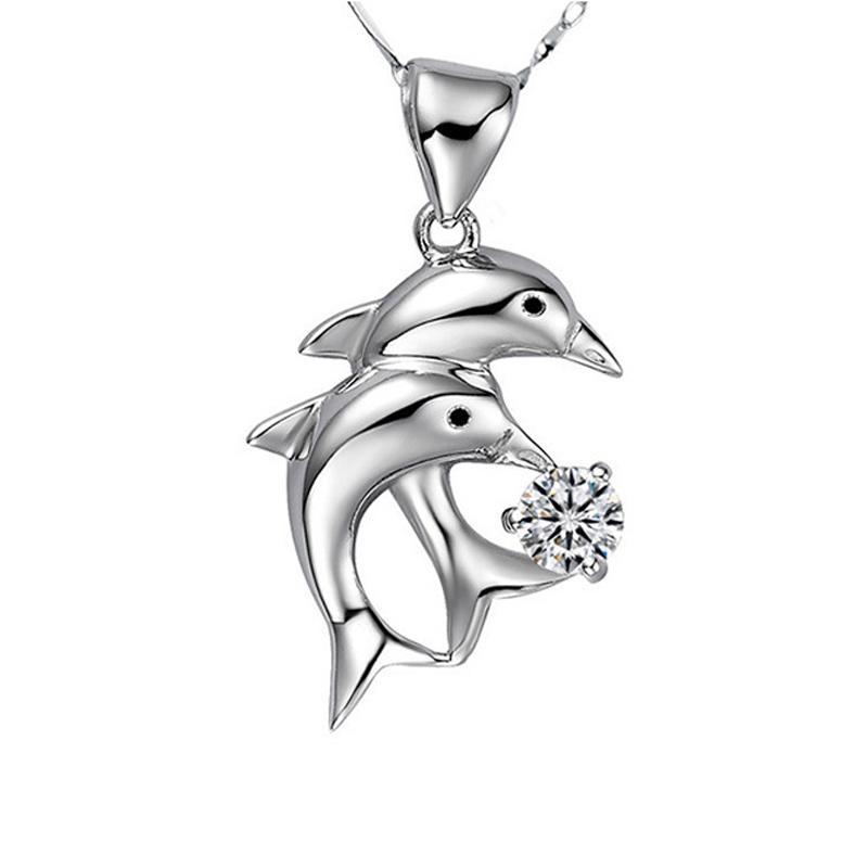 Lingdong marca de moda S925 collar de plata estándar Delfín incrustaciones colgante de circón Corea incrustaciones de piedra serie mujeres colgante envío gratis