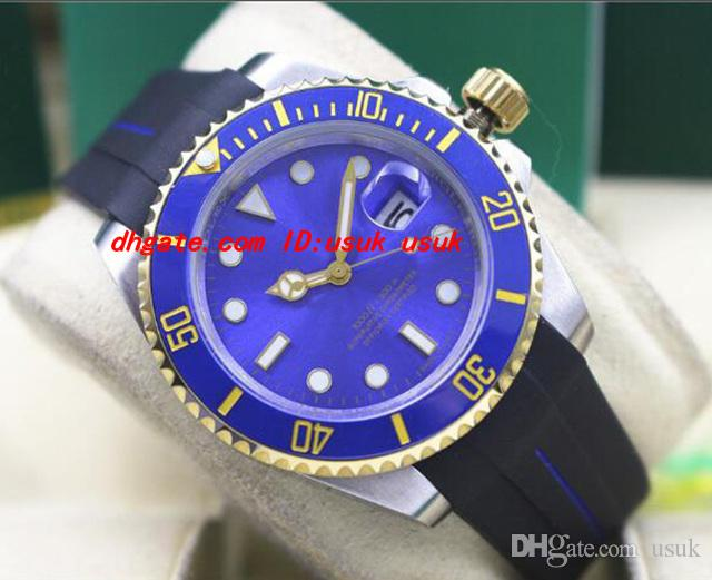 Top Qualität Luxus Armbanduhr 116618 Gummi Armband Sunburst Blau Keramik 40 MM Automatische Mechanische Herrenuhren Neue Ankunft
