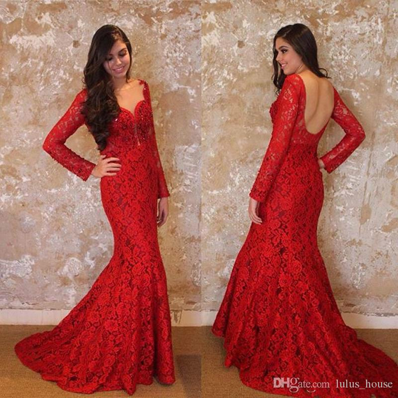 Red Lace Evening Dresses Long Sleeves Mermaid Sequins V-Neck Backless Robe De Soiree 2017 Plus Size Sexy Prom Gowns Formal Party Dress Long