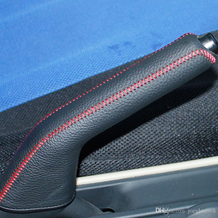 Mazda 3 2008-2010 için El Freni Kapağı Hakiki deri El freni kolu kapağı Oto iç dekorasyon DIY El Freni kol koruma