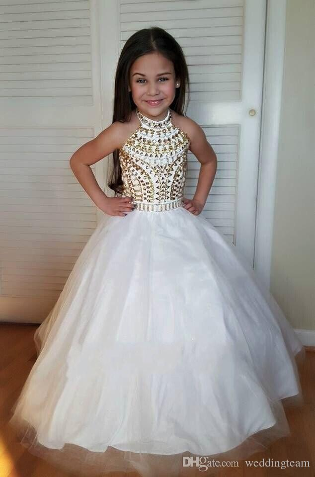 Charming White And Gold Crystals Beaded Girls Pageant Dresses Halter Ball Gown Floor Length Flower Girl Dress For Kids Formal Wear Gowns