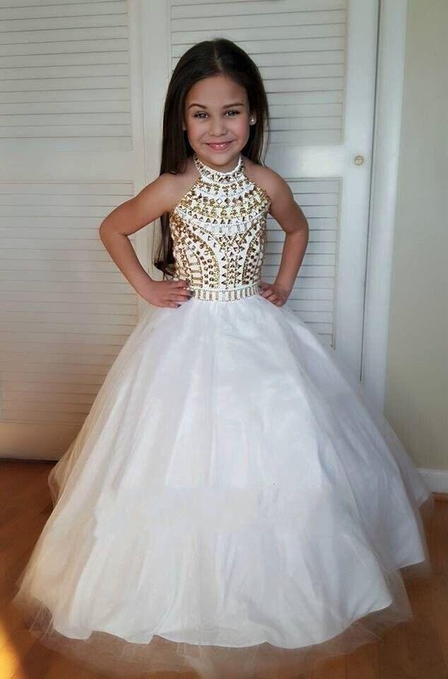 Compre Encantadores Cristales Blancos Y Dorados Con Cuentas Niñas Vestidos Del Desfile Halter Ball Gown Palabra De Longitud Vestido De Niña De Las