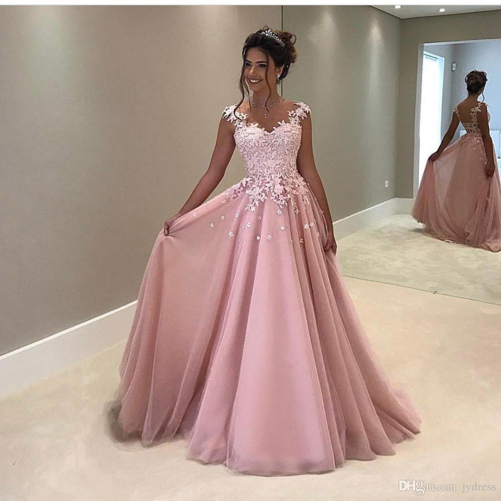 Großhandel Neue Blush Pink Lange Abend Prom Kleid Elegant Vestido De Festa  A Linie Abendkleider Applique Robe De Soiree Günstige Abendkleid