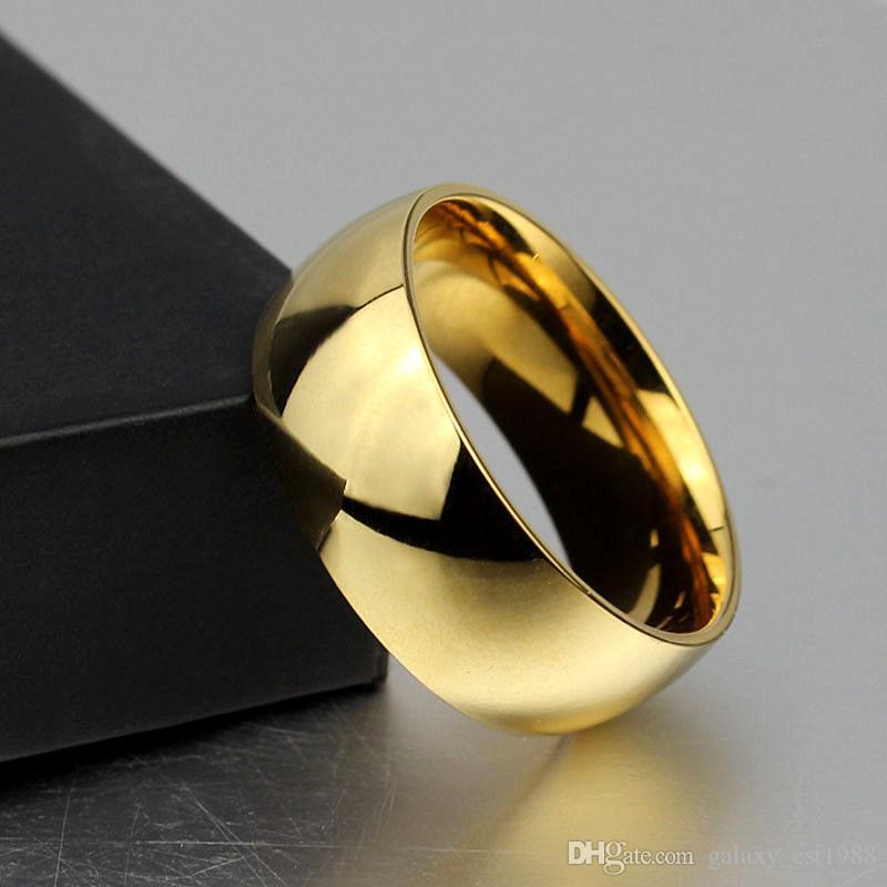gli anelli all'ingrosso dei monili dell'acciaio inossidabile dell'acciaio inossidabile lucidato 50pcs / lot degli uomini 8mm brandano nuovo