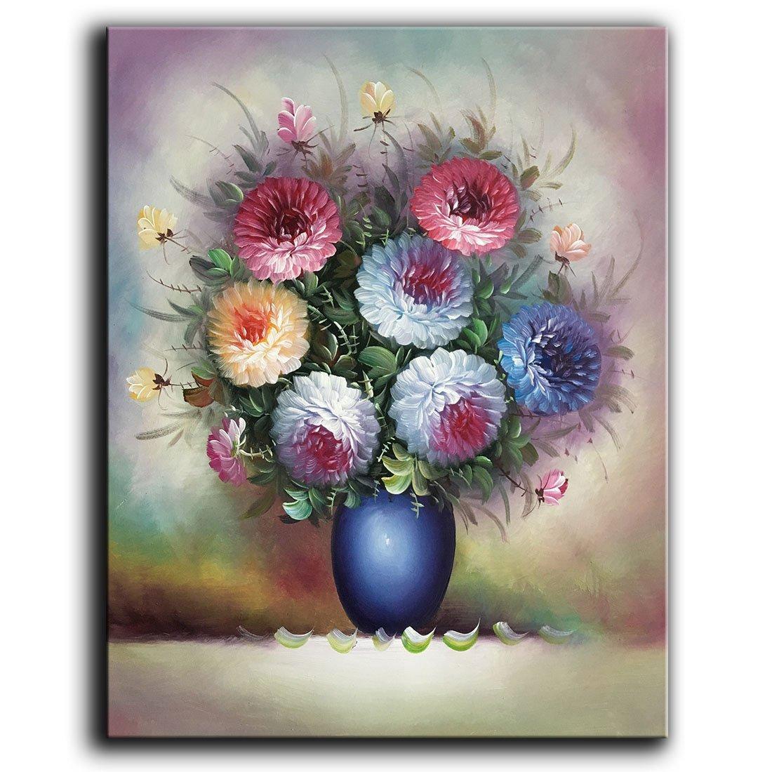 100% handgemaltes Ölgemälde auf Leinwand Schöne bunte blühende Blumen Gemälde Modern Home Decor Art