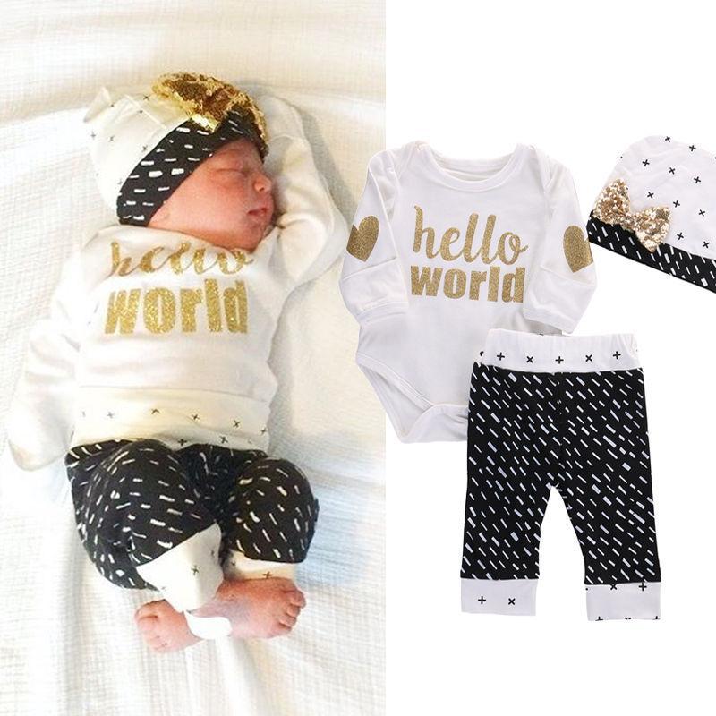 Atacado-Bebê recém-nascido Meninas Meninos Top Bodysuits + Calças Leggings Casual manga comprida Hello World Baby Boy Outfits Set roupas