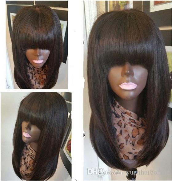 celebrity wig full lace wigs silky straight virgin remy brazilian human hair lace front wig with bangs for black woman free shipping