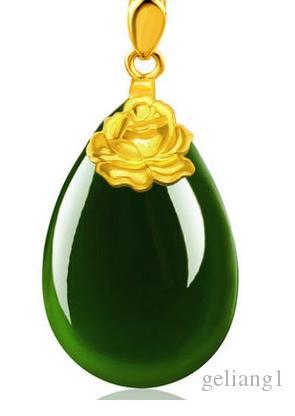 Altın kakma yeşim yeşil su damlacıkları şakayık (çiçek açan çiçekler) charm kolye kolye