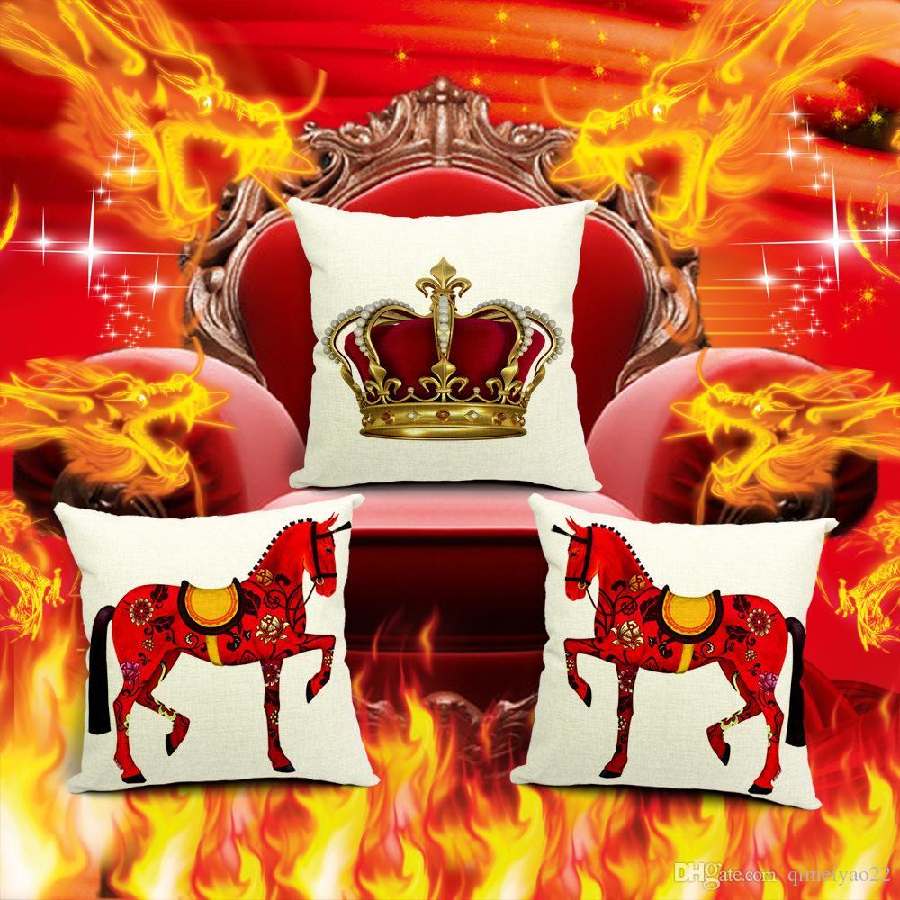 Decorativa Cavalos vermelhos Throw Pillow caso capa Europeu Royal Crown algodão linho capa de almofada para o sofá Home Decor Capa Para Almofada