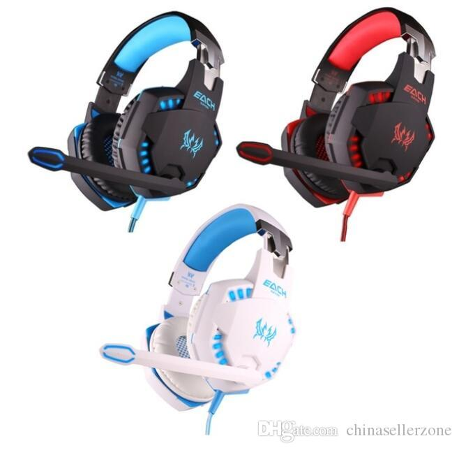 3color EACH G2100 Gaming Headphone Vibration Function Headset with Mic Stereo Bass Earphone LED Light for PC Laptop High quality