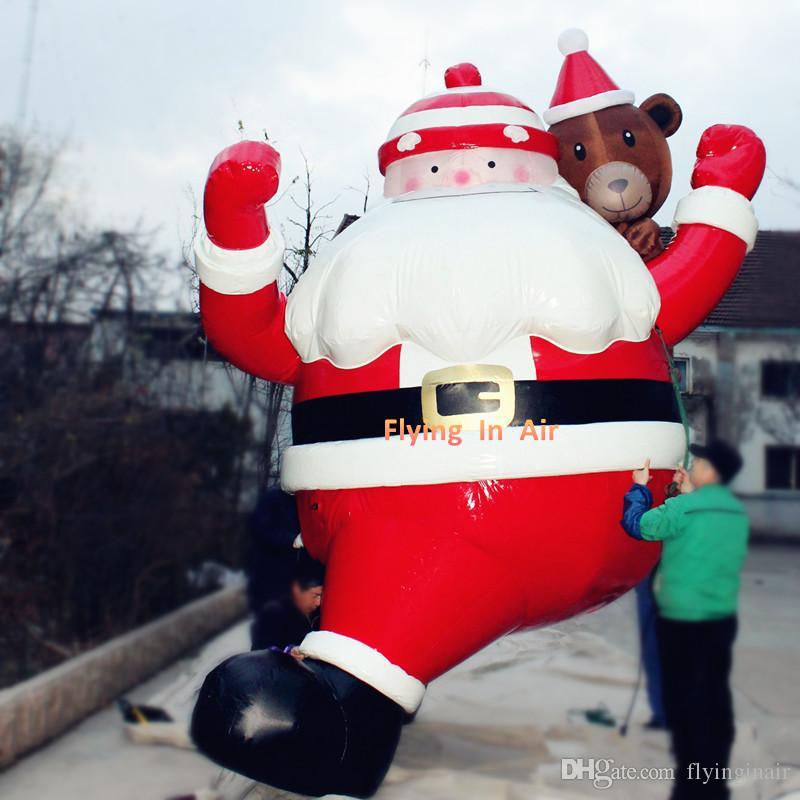 4.5m Climbing Wall Santa Inflated Outdoor Christmas Santa Carrying Bear
