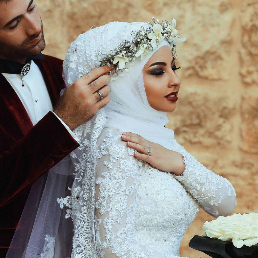 Luxury Mermaid Dubai Arabic Muslim Wedding Dresses With Hijab Long ...